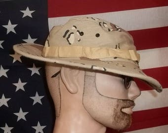 US ARMY boonie desert hat choco chip camo pattern large size moderately worn laundered neat presentable pretty