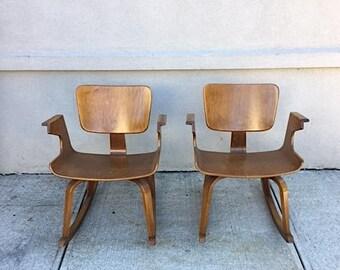Rare Pair Of Thonet Bentwood Rocking Chairs