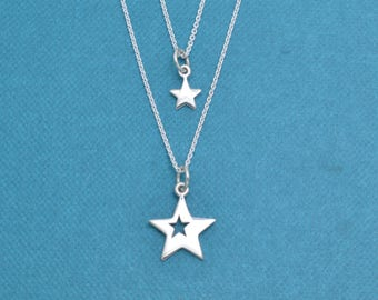 Mother and Daughters Star Necklace Set.  Mother Daughter Jewelry. Mother Daughter Necklaces.  Star necklace.  Star charm.