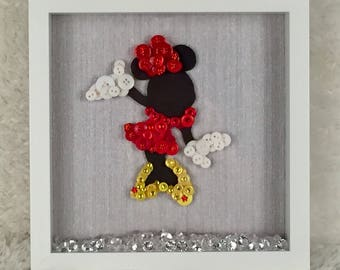 Minnie Mouse Button Art Frame-  Unique Gift for any Disney Lover