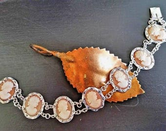 """Antique Victorian Cameo Link Bracelet 800 Silver Marcasite Carved Shell 7.75"""""""