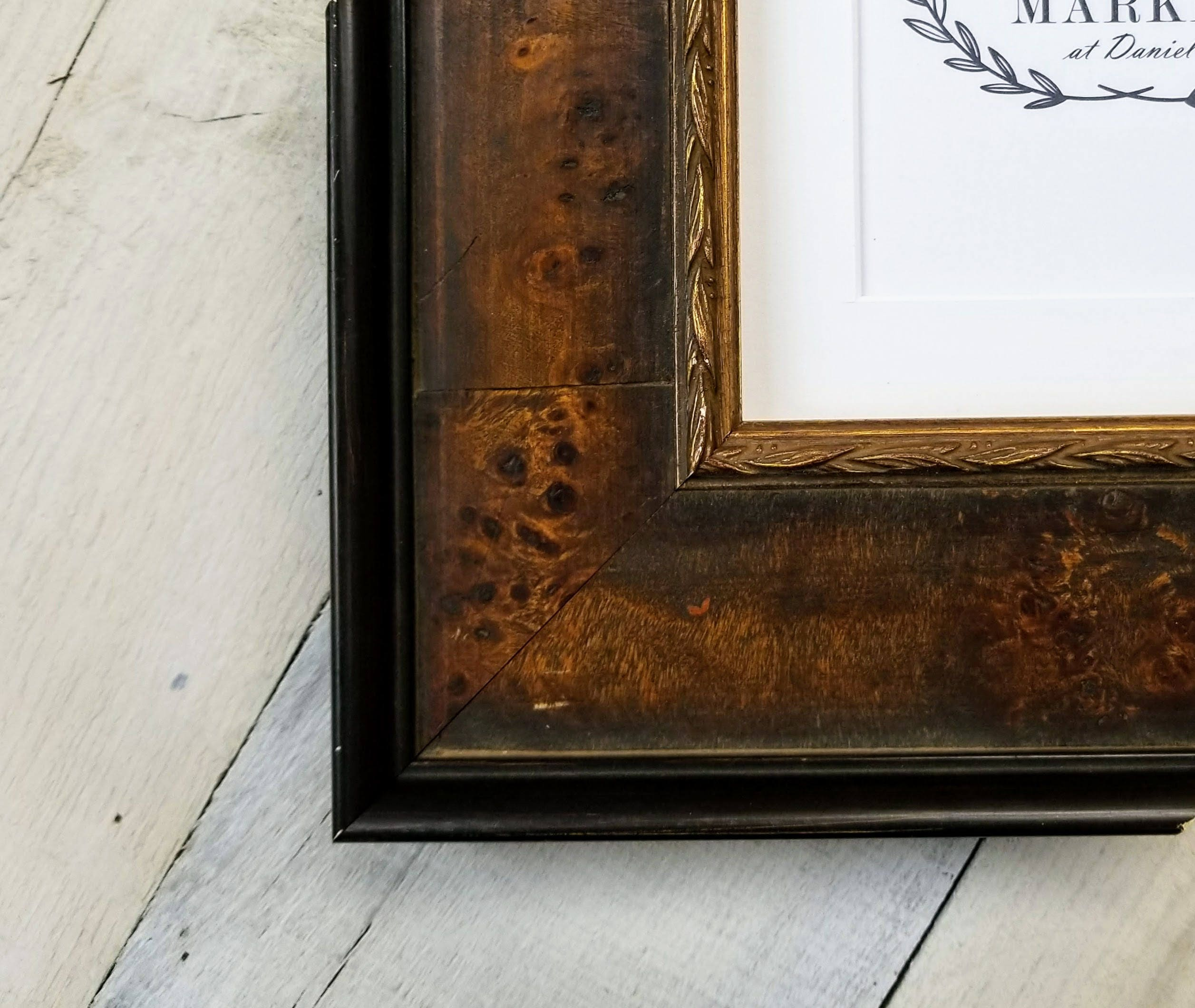 Edmond burl wood picture frame with white mat 8x10 9x12 11x14 sold by theframemarket jeuxipadfo Images