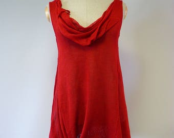 Special price. Summer red linen blouse, L size.
