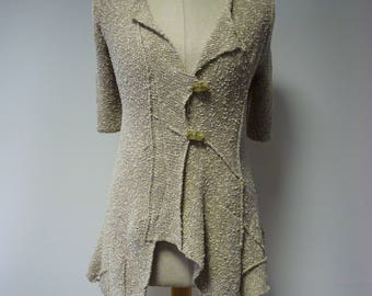 The hot price, beige boucle cardigan, S size.