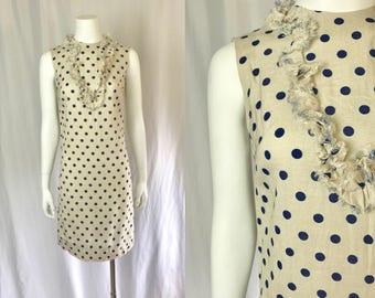 Xs/small ** 1960s POLKA DOT linen shift dress ** vintage sixties Mardi Modes summer dress