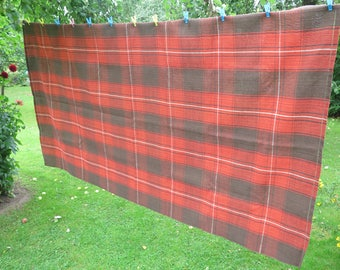 Vintage Large Table Cloth Brown Orange Checked Gingham Style Table Cloth, 220 x 118 cm / 86.6 x 46.4 inch, Scandinavian Textiles #3-33