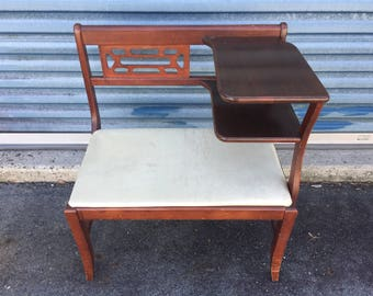 Vintage MCM Telephone Entryway Table Bench