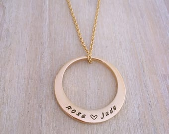 Hand Stamped Name Necklace. Gold Plated