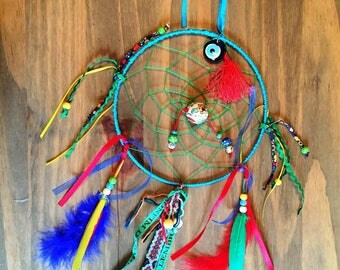 Red, yellow, blue and green dream catcher