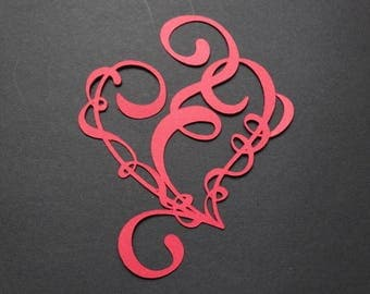 Heart red lace entwined with a curly Ribbon