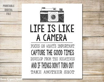 Camera Art Life Is Like A Camera Wall Art Camera Wall Decor Vintage Camera Art Black and White Wall Decor