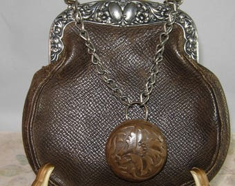 Antique 1900 Leather Purse With Chain And Knob Handle