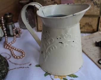 Vintage Cream Chippy Painted Tin Jug Pitcher Distressed Shabby Chic