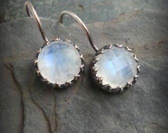 Rosecut Moonstone Sterling Earring, Faceted Rainbow Moonstone Drop Earrings, Queen Margot Earrings, Iridescent BlueFlash Moonstone Drops