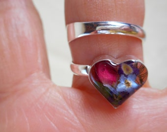 Silver 925 heart dried pressed flower ring multi-colors