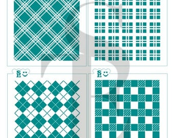 Plaid Background Stencils Bundle