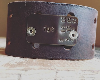 """The """"Dad"""" handstamped  Leather cuff"""