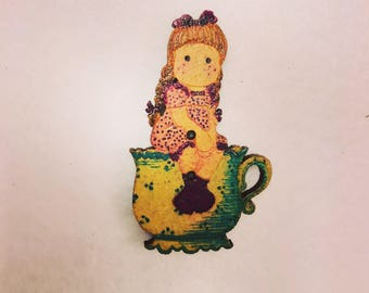 Girl in a tea cup Wood button for patchwork and crafts