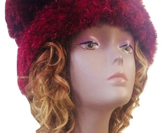VINTAGE TED LAPIDUS Stretch Beanie/Couture Style/Chenille & Wool Crochet Style/Burgundy/Dark Red