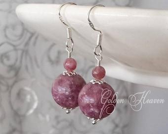 Lepidolite Earrings sterling silver Purple earrings 925 sterling silver Purple Gemstone Earrings Lepidolite jewelry Natural Gemstone
