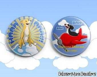 Dog of Wisdom Badge Pinback Button Set
