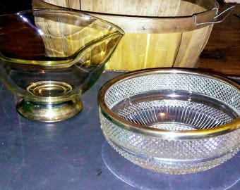 Two 1950's Press and Cut Crystal Glass Silver P Base Rim Bowls