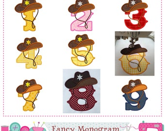 Cowboy Numbers applique,Birthday Numbers design,Cowboy applique,Western design,Cowboy hat Numbers,Boys applique.-1551