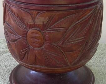 Vintage Antique Beautiful Hand Carved Wood Planter Floral and Vine Motifs