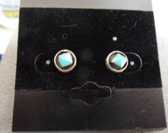 Sterling Silver Turquoise Earrings- posts- for pierced ears