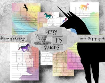 Unicorn ClipArt   Unicorn Journal  Cards   Watercolor Art   Digital Journal Kits   Junk Journals   ephemera pack   journal printables