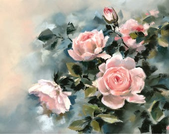 Pink Roses art print, florals print, wall art print, print from soft pastel painting, floral wall art, print of roses by CanotStopPainting