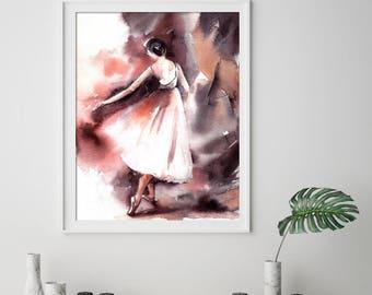 Ballerina Fine Art Print, Ballerina Print, Watercolor painting print, Ballet Dance Wall Art Print, Watercolor Print of Ballerina