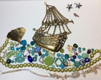 DESTASH LOT Sail The Seven Seas Junk Jewellery Create Mixed Media Art Craft Recycle Decorate Embellish