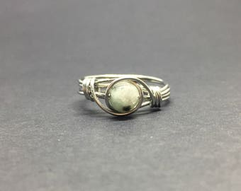 Blue Kiwi Jasper Wire Wrapped Ring