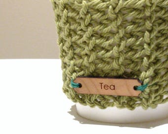 Green Cup Cozy green tea Cup Sleeve, knitted Coffee Sleeve, Reusable Coffee Cozy, Eco friendly cup cozy