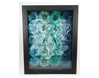 Blue Green Handmade paper flower shadow box wall art