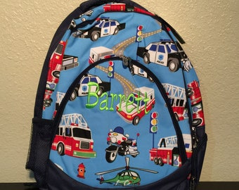 Fire Truck Police Car First Responder Print Monogrammed School Backpack Book bag Navy Blue Trim