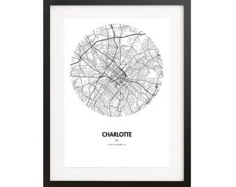 Charlotte Map Poster - 18 by 24 inch Map Print