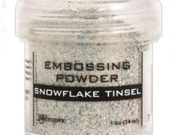 Snowflake tinsel embossing powder 1 oz