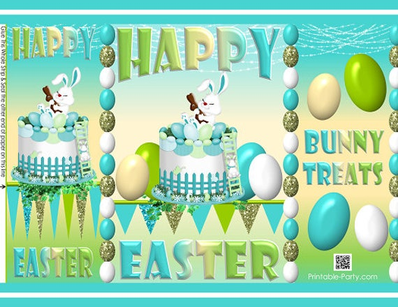 Printable easter bunny eggs cake treat gift wrap bags teal green il570xn negle Images