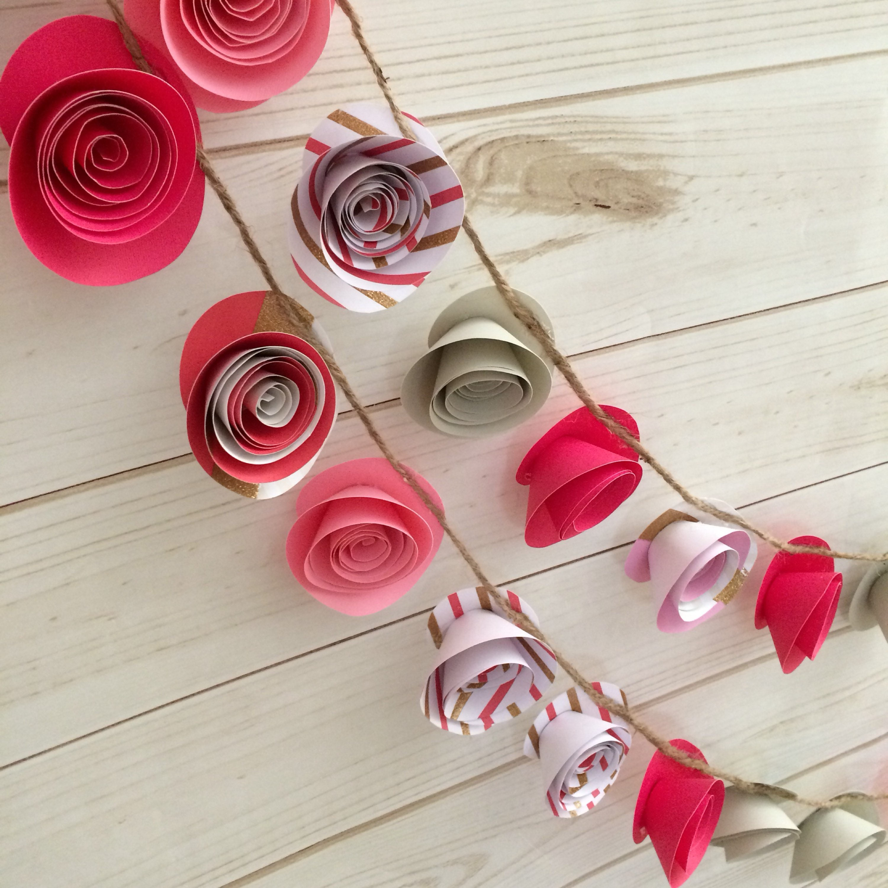 Paper rose garland various pink striped gold glitter and grey various pink striped gold glitter and grey flowers mightylinksfo