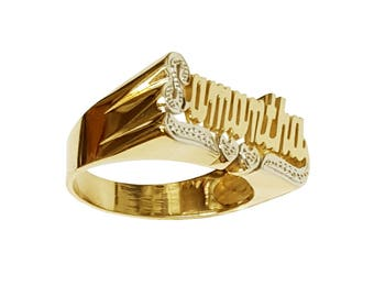 Lee113dc-14K 10mm Size 14K Gold Script Letter Accent on First Initial and Two-hearts Tail Name Ring
