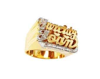 Lee089d-10K Gold Substantial Name Ring with Diamonds