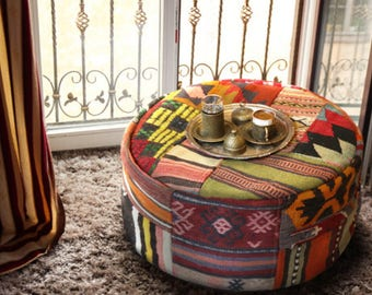 One of the kind handmade kilim pouf