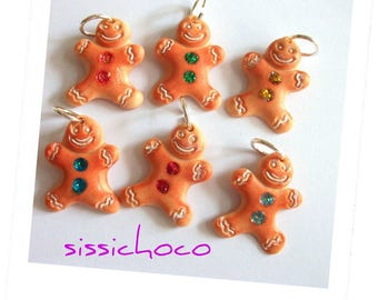 set of 6 gingerbread charm