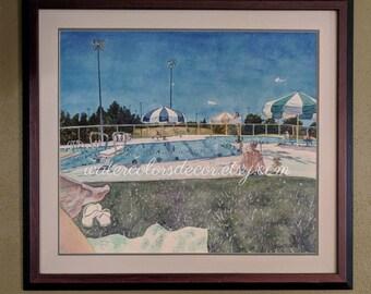Framed Original swimming pool watercolor painting. Swimming painting. Pool painting. Watercolor art. Swimmer picture. Swim artwork.
