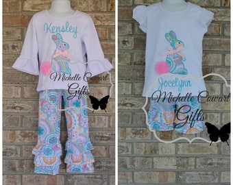 Easter Outfit, Personalized Easter Outfit, Ruffle Pants, Floral, Girls Outfit, Toddler Outfit, 12M, 18M, 24M, 2T, 3T, 4T, 5/6, 6/7, 7/8, RTS