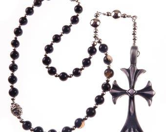 Eastern Orthodox Rosary Greek Chotki Komboskini The Jesus Prayer Religious Christian Gift Handmade Black Agate & Silver