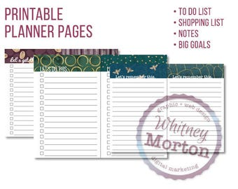 """DIGITAL PRINTABLE - 10 printable planner half-pages, 5 1/2"""" by 8 1/2"""", to do list, goal list, shopping list, notebook pages"""