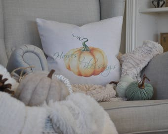 Harvest Blessings Farmhouse Pillow Cover | Autumn Pillow Cover | Farmhouse Throw Pillow | Rustic Farmhouse Fall Pillow Cover